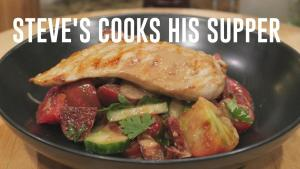 Grilled Chicken With Tomato Chorizo Salad And Tahini 1018777 By Stevescooking
