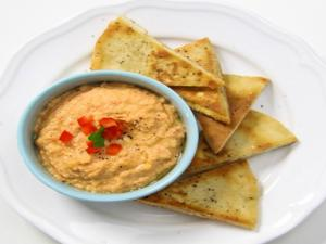 Pita Chips With Roasted Red Pepper Hummus Recipe Game Day Bites