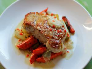 Pork Chops With Roasted Carrots Fennel And Onion Sauce