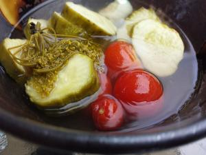 Pickled Cucumbers And Cherry Tomatoes