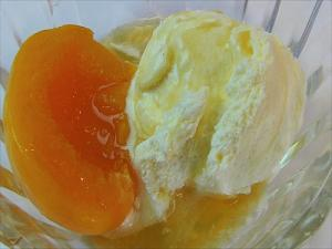 Brandied Peaches With Vanilla Ice Cream