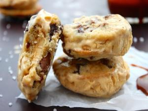 Salted Caramel Chocolate Chip Cookie Ice Cream Sandwiches