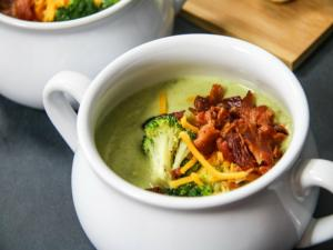 Cream Of Broccoli Witches Brew Soup With Bone Breadsticks