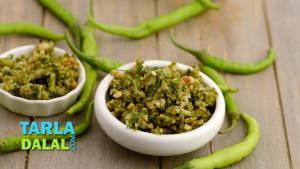 Green Chilli Thecha Hirvi Mirchi Cha Thecha Recipe In Hindi 1019212 By Tarladalal
