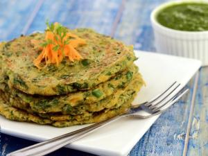 Vegetable Oats Pancake Fibre Rich Breakfast By Tarla Dalal