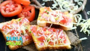 Onion Tomato And Cheese Open Toast 1018299 By Tarladalal