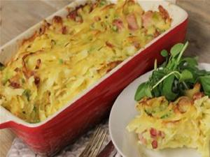 Ham Leek And Pea Pasta Bake