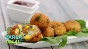 Corn Spinach And Rice Balls 1019244 By Tarladalal