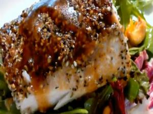 Blackened Sesame Tuna over Asian Greens
