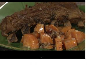 Chili Pineapple Glazed Ribs with Sweet Potato and Pecan Salad
