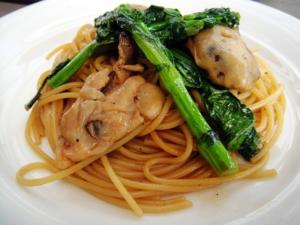 Oyster and Brassica (Flower Sprouts) Pasta