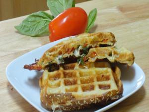 Tomato Basil Sandwich in Waffle Maker