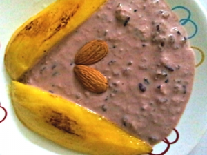 Black Rice Pudding With Grilled Mangoes