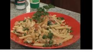 Penne with Shrimp and Vegetables in Gorgonzola Cream Sauce