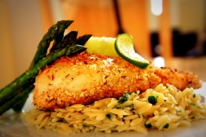 Not so Fried Chicken with Emeril Orzo and Roasted Asparagus