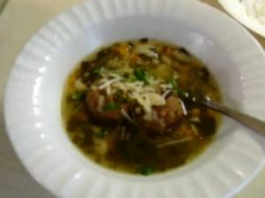 Solar Cooked Wedding Soup with Meatballs