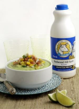 Chilled Avocado Soup with Roasted Corn and Pico de Gallo Garnish