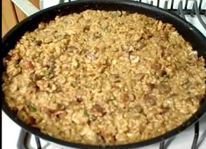 Risotto With Bacon, Shiitake Mushrooms And Walnuts