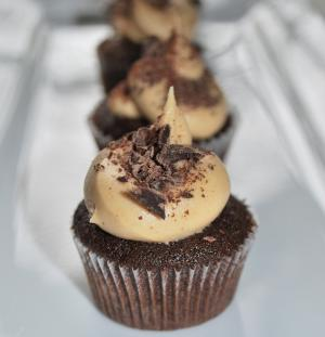 Dark Chocolate Cake with Peanut Butter Frosting