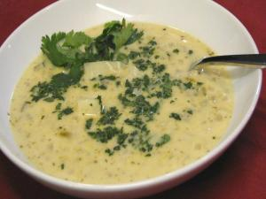 Creamy Green Chili and Cheese Soup