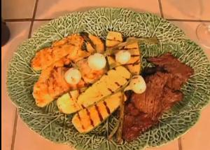 Chicken Breast Fillets and Grilled Steak with Vegetables