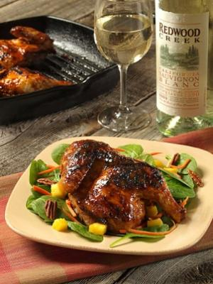 Wine-Tamarind Glazed Cornish Hens with Tropical Salad