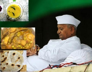 Anna Hazare subsists on a frugal diet of bhakri, vegetables, and dal.
