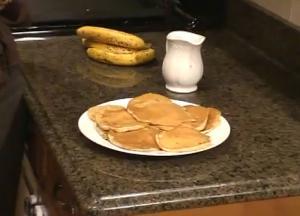 Banana and Walnut Pancakes with Honey