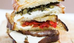 Marinated String Beans and Goat Cheese, Prosciutto Panini