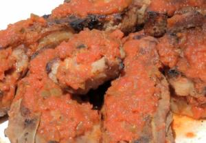 Grilled Pork Ribs topped with Salsa