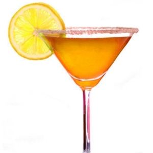 The gorgeous orange martini drink.