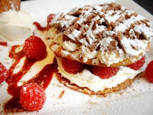 Anzac Biscuit Dessert With Icecream, Cream and Raspberries