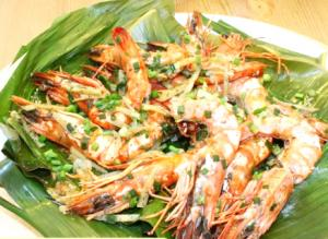 Tiger Prawns with Banana Leaves and Dill