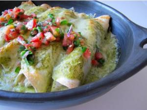 Pepper Jack Chicken Enchiladas with Tomatillo Sauce