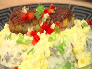 Crab Croquettes & Creamy Corn Sauce Over Mashed Potatoes