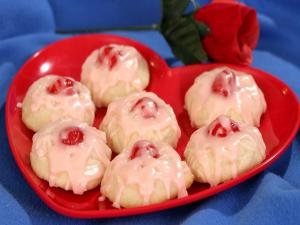 Cherry Glazed Valentine Cookies
