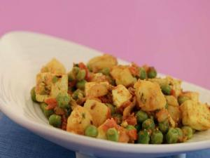 Paneer, Peas and Potato Taka Tak by Tarla Dalal