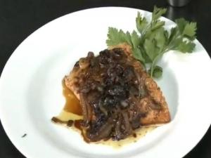 Seared Salmon and Salmon With Balsamic Onion Glaze