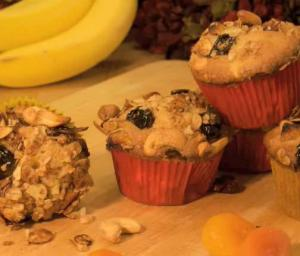 Banana Granola Muffin with Cashew and Cherries
