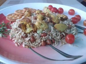 Pressed Rice Mixture With Salted Cherry Tomatoes