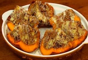 Baked Pumpkin With Bacon Apple and Cheese Stuffing