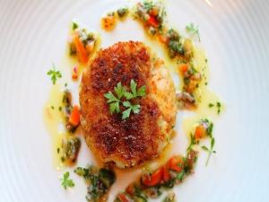 Fish Cakes Sauce Vierge