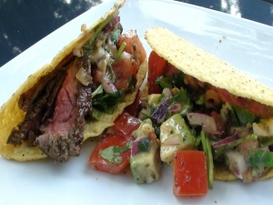 Skirt Steak Tacos with Strawberry Poblano Salsa