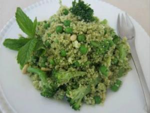 Mint Pesto Couscous with Broccoli and English Peas