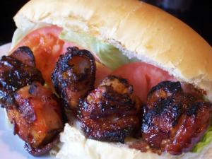 Bacon Wrapped BBQ Shrimp Po' Boy