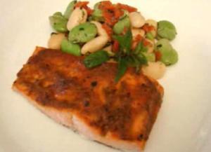 Romesco Sauce Glazed Broiled Salmon