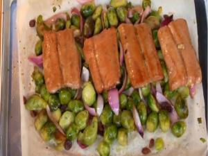 Roasted Maple Salmon and Brussels Sprouts