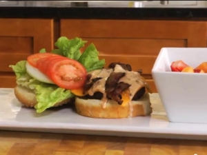 Peppered Grilled Hamburger With Special Sauce