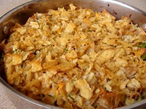 Salmon And Potato Chip Casserole
