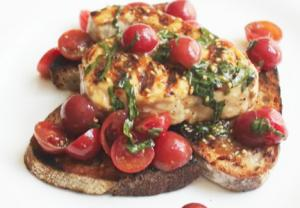 Grilled Swordfish with Fresh Tomato & Basil Bruschetta
